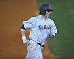 Ole Miss' Preston Overbey(1) hits a home run vs. Georgia in college baseball action at Oxford-University Stadium in Oxford, Miss. on Friday, April 8, 2011. Georgia won 9-8.