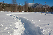 Wetlands area along the Sawyer River Trail in Livermore, New Hampshire USA during the winter months. The Sawyer River Trail follows the old Sawyer River Railroad which was a logging railroad that operated from 1877 - 1928. Mount Carrigain is off in the distance.