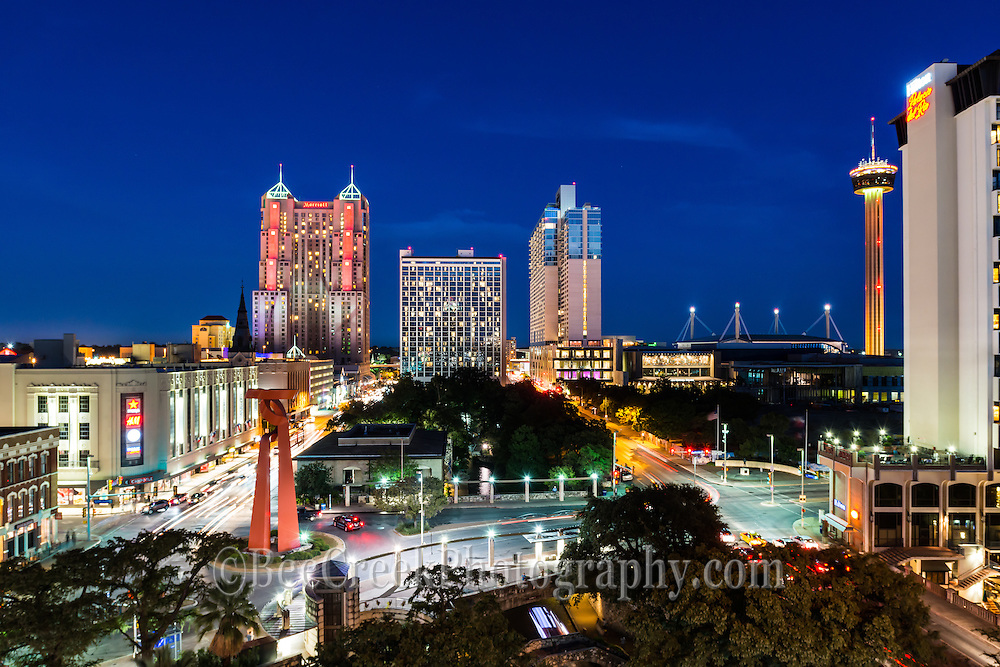 This is another capture of the skyline of San Antonio on a busy saturday night.  This captures the riverwalk, the Tourch of Freedom along with the Tower of Americas.  Also making the SA skyline are the many high rise hotels like the Marriott and the Grand Hyat plue the Hilton del Rio along the river.<br /> Watermark will not appear on image