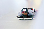 18 November 2005: Lindsay Alcock of Canada slides down the track to take 8th place at the 2005 FIBT World Cup Women's Skeleton competition at the Verizon Sports Complex, in Lake Placid, NY. Mandatory Photo Credit: Ed Wolfstein.