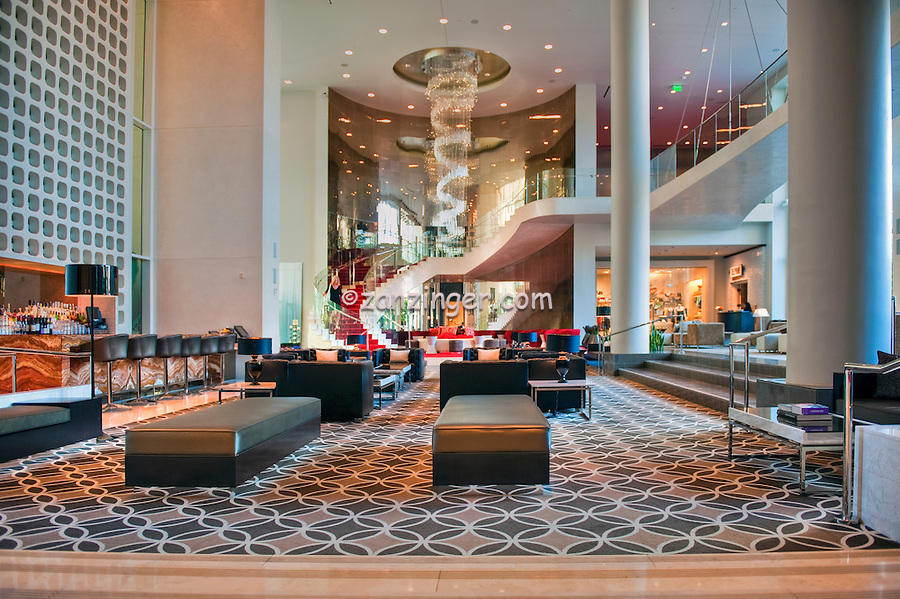 """W Hotel"" Hollywood CA, Lobby, Bar, Grand Staircase, Chandelier, Chic Modern, Contemporary, glamorous hot-spots, Hollywood & Vine,"