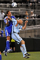 Davy Arnaud (blue), Conor Casey...Kansas City Wizards defeated Colorado Rapids 1-0 at Community America Ballpark, Kansas City, Kansas.