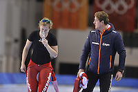 SPEED SKATING: SALT LAKE CITY: 18-11-2015, Utah Olympic Oval, ISU World Cup, training, Lotte van Beek (NED), Peter Kolder (trainer/coach Team Corendon), ©foto Martin de Jong
