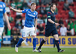 St Johnstone v Celtic&hellip;.McDiarmid Park, Perth.. 11.05.16<br />Liam Craig has a go at Ref Willie Collum<br />Picture by Graeme Hart.<br />Copyright Perthshire Picture Agency<br />Tel: 01738 623350  Mobile: 07990 594431