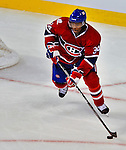 21 September 2009: Montreal Canadiens' defenseman Shawn Belle in action during a pre-season game against the Pittsburgh Penguins at the Bell Centre in Montreal, Quebec, Canada. The Canadiens edged out the defending Stanley Cup Champions 4-3. Mandatory Credit: Ed Wolfstein Photo