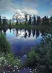 A painterly composition of Mount Shuksan, 9,127 feet in elevation, reflected in alpine Highwood Lake. Mount Baker Wilderness Area, North Cascades Mountain Range, Washington State.....Photographed on Velvia 50 film in 6X7 format.