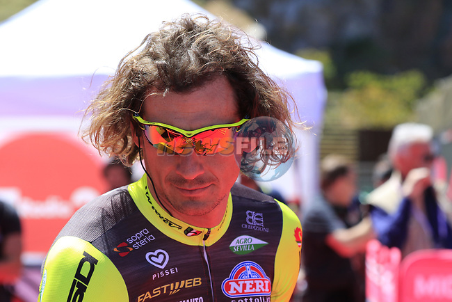 Filippo Pozzato (ITA) Wilier Triestina-Selle Italia at sign on in Arbatax before the start of Stage 3 of the 100th edition of the Giro d'Italia 2017, running 148km from Tortoli to Cagliari, Sardinia, Italy. 7th May 2017.<br /> Picture: Eoin Clarke   Cyclefile<br /> <br /> <br /> All photos usage must carry mandatory copyright credit (&copy; Cyclefile   Eoin Clarke)