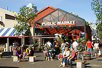 People outside the entrance Granville Island public market, Vancouver, British Columbia, Canada
