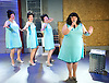 The Flannelettes <br /> by Richard Cameron <br /> at the King's Head Theatre, London, Great Britain <br /> Press photocall <br /> 15th May 2015 <br /> <br /> <br /> Emma Hook as Delie<br /> singing in mic <br /> <br /> <br /> <br /> Photograph by Elliott Franks <br /> Image licensed to Elliott Franks Photography Services