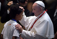 Pope Francis attends a meeting with 400 children from the south of Italy, Calabria, including children of migrants, on May 28, 2016 at the Vatican