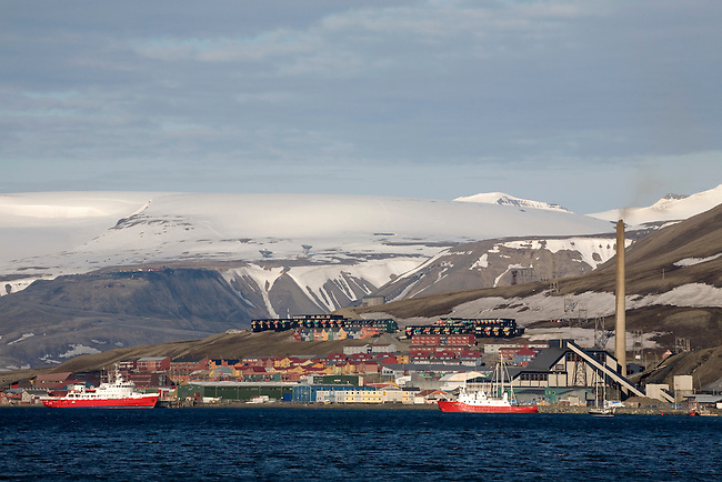 The town of Longyearbyen and the mountains beyond seen from the old coal dock