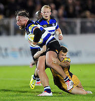 Henry Thomas of Bath Rugby is tackled. Aviva A-League match, between Bath United and Bristol United on September 19, 2016 at the Recreation Ground in Bath, England. Photo by: Patrick Khachfe / Onside Images
