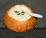 California, San Francisco: Clam Chowder in a sourdough bread bowl at Boudin's, Fisherman's Wharf.  .Photo #: 12-casanf78226.Photo © Lee Foster 2008