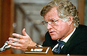 "Washington, DC - (FILE) -- United States Senator Edward M. ""Ted"" Kennedy (Democrat of Massachusetts) questions United States Supreme Court Justice William Rehnquest during the latter's nomination hearing to be Chief Justice of the United States on July 29, 1986..Credit: Arnie Sachs / CNP"