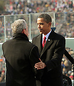 Washington, DC - January 20, 2009 -- United States President Barack Obama takes a moment with former President George W. Bush just after Obama was sworn-in as the 44th President of the United States and the first African-American to lead the nation at the U.S. Capitol in Washington, Tuesday, January 20, 2009.   .Credit: J. Scott Applewhite - Pool via CNP