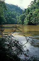 Tutoh River in Tropical Rain Forest, Gunung Mulu National Park, Malaysia, Borneo, Sarawak.