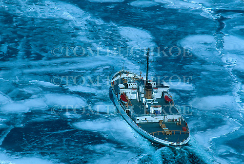 Icebreaker Mackinaw - Coast Guard Cutter WAGB 83 breaking ice on Lake Superior.