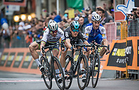 finish sprint at the Via Roma between Peter Sagan (SVK/Bora-Hansgrohe), Michal Kwiatkowski (POL/SKY) &amp; Julian Alaphilipe (FRA/QuickStep Floors) with Kwiatkowski winning by the smallest margin<br /> <br /> 108th Milano - Sanremo 2017
