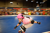 Bloody Picka of Hellcats jams during their bout with Putas del Fuego at the Palmer Events Center in Austin, Texas.