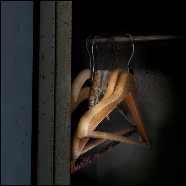 Hangers in a rusty locker
