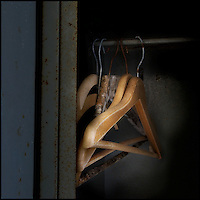 Hangers in a rusty locker