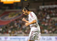 CARSON, CA - June 16, 2012: Real Salt Lake forward Fabian Espindola (7) celebrates one of his goals during the Chivas USA vs Real Salt Lake match at the Home Depot Center in Carson, California. Final score Real Salt Lake 3, Chivas USA 0.