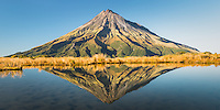 Taranaki, Mt. Egmont with reflections in alpine tarn, Egmont National Park, North Island, New Zealand, NZ