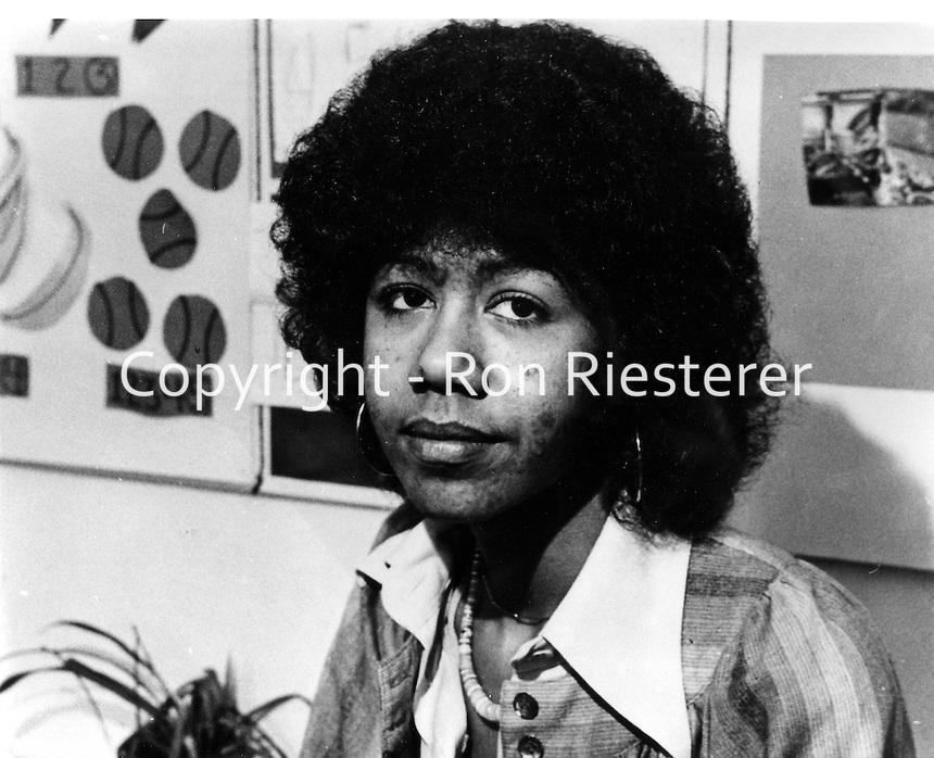 Black Panther supporter Ericka Huggins.<br />(1975 photo)