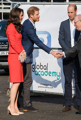 HAYES, UNITED KINGDOM - APRIL 20: Catherine, Duchess of Cambridge, Prince Harry &amp; William, Duke of Cambridge attends the official opening of The Global Academy in support of Heads Together on April 20, 2017 in Hayes, England. <br /> CAP/JOR<br /> &copy;JOR/Capital Pictures /MediaPunch ***NORTH AND SOUTH AMERICAS ONLY***