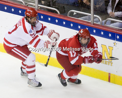 Matt Gilroy (BU - 97), Andy Miele (Miami - 17) - The Boston University Terriers defeated the Miami University RedHawks 4-3 in overtime to win the 2009 NCAA D1 National Championship at the Frozen Four on Saturday, April 11, 2009, at the Verizon Center in Washington, DC.