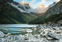 Sunset at Lake Mackenzie on Routeburn Track with Emily Pass and Peak in background, Fiordland National Park, Southland, South Island, UNESCO World Heritage Area, New Zealand, NZ