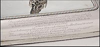 BNPS.co.uk (01202 558833)<br /> Pic: MyFamilySilver/BNPS<br /> <br /> ***Please use full byline***<br /> <br /> The most sought after piece of silver that was ever awarded to Lord Nelson has finally come to light after 122 years and is set to sell for &pound;400,000. The entree dish was purchased for Nelson as part of a collection to reward him for his victory at the Battle of the Nile in 1798. <br /> What was then known as Lloyd's Coffee House but later became Lloyd's of London, gave him a &pound;500 reward to spend which is the equivalent of &pound;50,000 today. Nelson ordered a 22 piece silver service and had it custom designed with his heraldic crest, which was then sent to him while he was at sea. Three of the four rectangular dishes are on display in museums but the fourth was passed down through family and has not been seen in public since an exhibition in 1891.