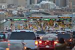 Vehicles wait to cross through U.S. border checkpoints as they enter El Paso, Texas, from Juarez, Mexico.