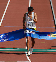 Jefferson Perez of Ecuador winning the 20k racewalk in a time of 1:22:20 at the 11th. IAAF World Championships on Sunday, August 26, 2007. Photo by Errol Anderson,The Sporting Image.