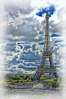 Looking across at the Eiffel Tower in Paris using a photo art style