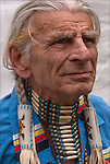 Richard (Duke of Sandy Hook) Simmons, Seneca and Iroquois Native American, dressed in Northern traditional regal.  <br /> <br /> Duke is a living examples of the celebration of Native American ethnic pride, culture and heritage, and its traditional folk art crafts. <br /> <br /> Release # 2508