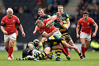George Kruis of Saracens takes on the Northampton Saints defence. Aviva Premiership match, between Northampton Saints and Saracens on April 16, 2017 at Stadium mk in Milton Keynes, England. Photo by: Patrick Khachfe / JMP