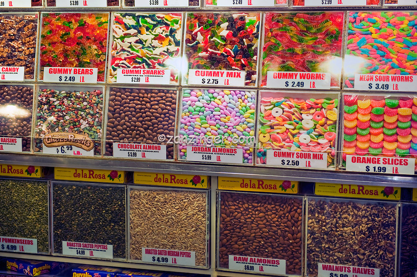 Gummy bears and assorted candy forming patterns grand for Fresh fish market los angeles