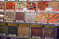 Gummy Bears and Assorted Candy, forming Patterns, Grand Central, Public Market, Produce, Los Angeles CA, Farm-fresh produce fresh fruits, vegetables, meats, poultry and fresh fish from California and around the world