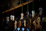 "Yakushima, June 2011 - The shop of Tetsu Tanabe selling ""kodama"" (spirits of trees) figurines made of cedar wood..The Kodama inspired Miyazaki for its anime ""Princess Mononoke""."