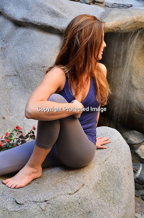 Stock photo of woman in yoga poses