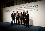 (L TO R) British playwright Tom Stoppard, Austrian pianist Alfred Brendel, British architect Zaha Hadid, British sculptor Richard Long and Japanese photographer Hiroshi Sugimoto pose for a photo session during a media event formally announcing the winners of this year's Praemium Imperiale, a global arts prize that is awarded annually, in Tokyo, Japan on Wed., Oct. 21 2009. .Photographer: Robert Gilhooly