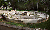 Chultún, water cistern, at the entrance of the The Temple of the Magician or House of the Dwarf, Uxmal late classical Mayan site, flourished between 600-900 AD, Yucatan, Mexico Picture by Manuel Cohen