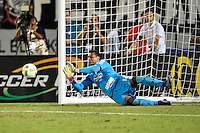 Orlando, FL - Saturday Jan. 21, 2017: São Paulo goalkeeper Sidão (12) makes a save during penalty shootout of the Florida Cup Championship match between São Paulo and Corinthians at Bright House Networks Stadium. The game ended 0-0 in regulation with São Paulo defeating Corinthians 4-3 on penalty kicks.
