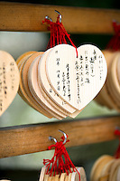 Believers write wishes on heart-shaped wood pannels let hanging by the Yasaka-jinja shrine, in Kyoto, Japan, on October 6, 2010. Photo Lucas Schifres/Pictobank