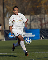 Boston College forward/midfielder Diego Medina-Mendez (15) brings the ball forward.  Rutgers University defeated Boston College in penalty kicks after two overtime periods in NCAA Division I tournament action, at Newton Campus Field, November 20, 2011.