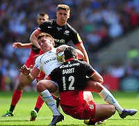 Henry Slade of Exeter Chiefs is tackled to ground. Aviva Premiership Final, between Saracens and Exeter Chiefs on May 28, 2016 at Twickenham Stadium in London, England. Photo by: Patrick Khachfe / JMP