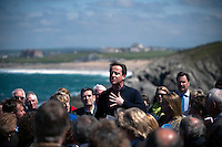 Conservative Party leader David Cameron addresses supporters and local small business owners during an election campaign stop in Newquay, Cornwall.
