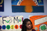 Ashley Walter, 17, from Babsou Posse 11, during small group activities at the Posse Foundation in New York, NY on April 01, 2014. Students in the Posse Foundation are chosen as scholars and go through college prep together as seniors in high school then attend the same college campus together where they get ongoing support. The Posse Foundation has identified, recruited and trained 5,544 public high school students with extraordinary academic and leadership potential to become Posse Scholars over the past 25 years.