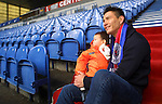 Michael Mols arrives at Ibrox with 2 year old son Nino for the launch of the Rangers family section
